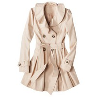 Coffee Shop Junior's Ruffle Collar Trench Coat -Blush