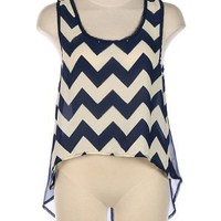 G2 Chic Chevron High-Low Tank(TOP-CAS,PNK-S)