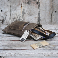 Waxed Canvas Reader Truffle and Plum antique military by PegandAwl