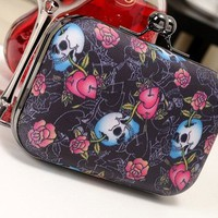 Mini Skull Flower Print PU Clutch Handbag on Luulla