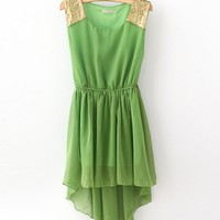 Sleeveless Chiffon Featuring Sequin Dress