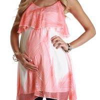 Orange-Cream-Paradise-Print-Maternity-Tunic