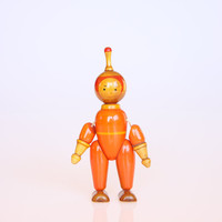 Mid century miniature wooden astronaut figurine