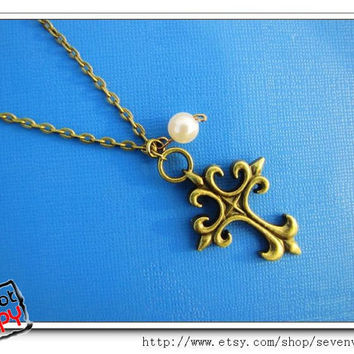 adjustable Vintage antique brass White Bead Cross by sevenvsxiao