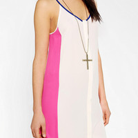 Urban Outfitters - Sparkle &amp; Fade Silky Colorblock Button-Down Dress