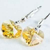 Small Heart Earrings Swarovski Crystal Ear Cuff Short Earrings Golden Yellow Valentine Gift For Her