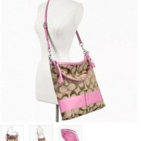 Coach Signature Stripe Convertible Shoulder Bag Crossbody Handbag Purse 23770 Khaki Pink