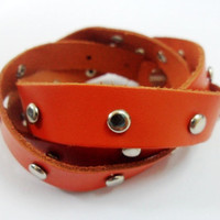 Cool Adjustable Orange soft Leather Stainless steel by sevenvsxiao