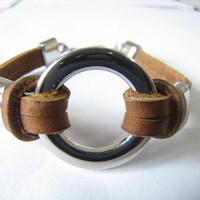 Adjustable brown 2 leather and Ring stainless steel by sevenvsxiao