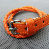 Adjustable Orange leather Woven Bracelets 178S by sevenvsxiao