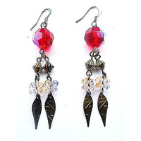 Red Crystal and Bronze Drop Earrings - Upcycle Jewellery