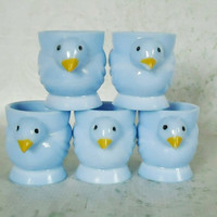 Blue Opaline Chick Egg Cups - Vintage French Chick Egg Cups