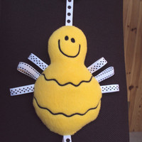 Bumble Bee Baby softie toy with lots of ribbon tags and c clip for teething or hanging.