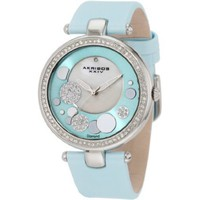 Akribos XXIV Women's AKR434BU Impeccable Quartz Diamond Sunray Mother-Of-Pearl Light Blue Dial Watch - designer shoes, handbags, jewelry, watches, and fashion accessories | endless.com