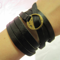 Black Leather Cool Bracelet With Metal Buckle by sevenvsxiao