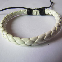 Adjustable White Leather Simple Woven by sevenvsxiao on Etsy