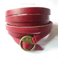 Red Leather Fashion Bracelet With Metal Buckle by sevenvsxiao