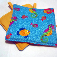 Kitchen  Potholders handmade  Fish Seahorses Nautical set of 2