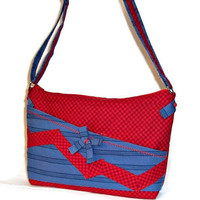 Purse Crossbody Adjustable Strap Red Checks Blue Stripes Zig Zag