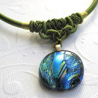 Blue Green Dichroic Glass Round Necklace on Elaborate Green Cord
