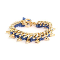 Blue Cotton Thread Bracelet on Link Chain with Gold Spikes