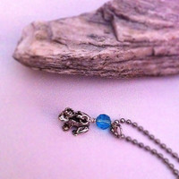 Little frog prince with turquoise crystal necklace gifts for girls and teens