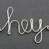 Hey Bracelet : Silver Handwritten Cursive Wire 'HEY' Bracelet with Chocolate Brown Cotton Cord, Adjustable, Crimp Beads, Greeting