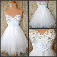 White mini sequined prom dress / homecoming dress