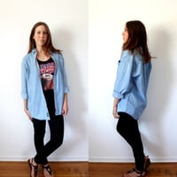 Oversized Chambray Denim Shirt Vintage 90's Longsleeve Boyfriend Buttondown