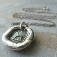 Victorian Greyhound Wax Seal Mini Pendant Necklace. Wax Seal Jewelry in Fine Silver