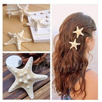 Natural Starfish Hairpin Size S