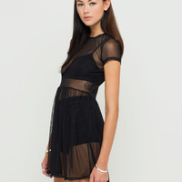 Motel Louski Sheer Babydoll Dress in Black Mesh