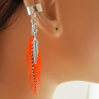 Orange and Grizzly Feathers Ear Cuff Cartilage Non Pierced
