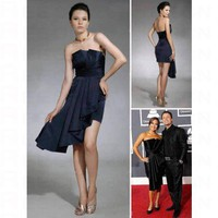 Satin Sheath/ Column Strapless Short/ Mini Cocktail Dress inspired by Grammy co1108 - Celebrity Dresses - Apparel