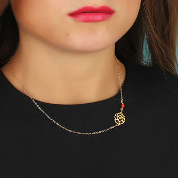"""Rose necklace, asymmetric necklace, coral necklace, 14k gold filled necklace, rose gold necklace, bridesmaid gift, flower necklace, """"Kabeiro"""