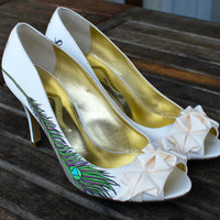 Custom Peacock Feather Wedding Heels