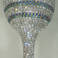 NEW-Custom Designed Handmade Wine Glass With Multicolor Rhinestones