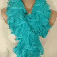 Ruffle Scarf, Frilly Scarf, Knitted Ruffled Scarf (Turquoise) for Women by Arzu&#x27;s Style