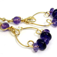 Amethyst Hoop Earrings, 14k Gold Filled Purple Gemstone Wire Sculpture Earrings
