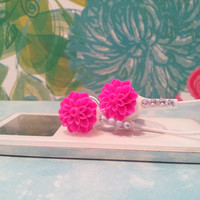 Cute Hot Pink Dahlia Flower Earbuds with Swarovski Crystals