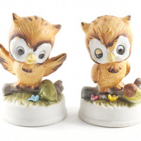 Kitsch Owl Figurine Pair Retro and Cute Vintage 70s Collectible by Napco