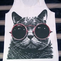 Cat Red Glasses Shirt -- Cat Shirt Animal Shirt White Shirt Women Shirt Tank Top Women T-Shirt Singlet Tunic Vest Women Sleeveless Size M