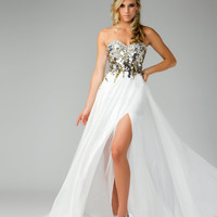 Mac Duggal Prom 2013- Gold &amp; Ivory Flowing Prom DressDress - Unique Vintage - Prom dresses, retro dresses, retro swimsuits.