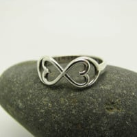Infinite heart ring, personalized stamped message ring, in sterling silver