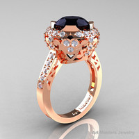 Edwardian 14K Rose Gold 3.0 Carat Black and White Diamond Engagement Ring, Wedding Ring Y404-14KRGDBD