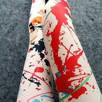 Orange Graffiti Splash Ink Printing Pantyhose Tights Leggings at Online Apparel Store Gofavor