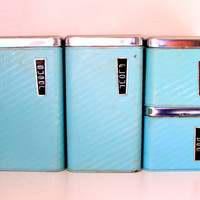 50&#x27;s Kitchen Canisters, Turquoise Beautyware by Lincoln, made in USA.