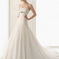 [230.02] Fabulous Satin & Organza Satin A-Line Strapless  Neckline Wedding Dress  With  Beadings & Lace Appliques - Dressilyme.com