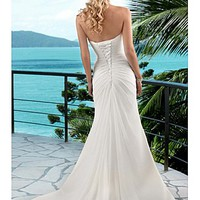 [160.03] Elegant Chiffon A-line Scoop Chaple Wedding Dress For Your Beach Wedding - Dressilyme.com