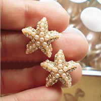 sea star rhinestone pearl stud earrings